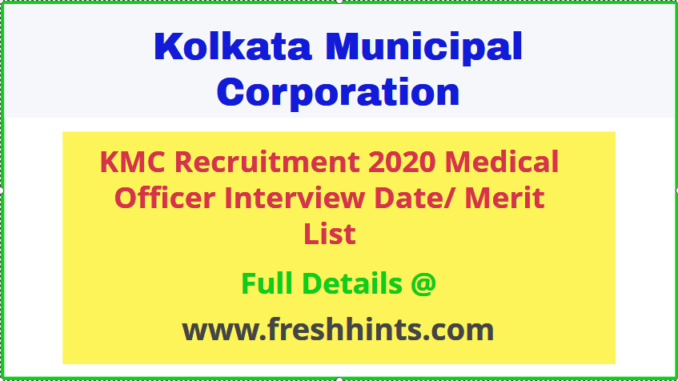 Kolkata Municipal Corporation Medical Officer Recruitment 2020