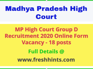 MP High Court Group D Vacancy 2020