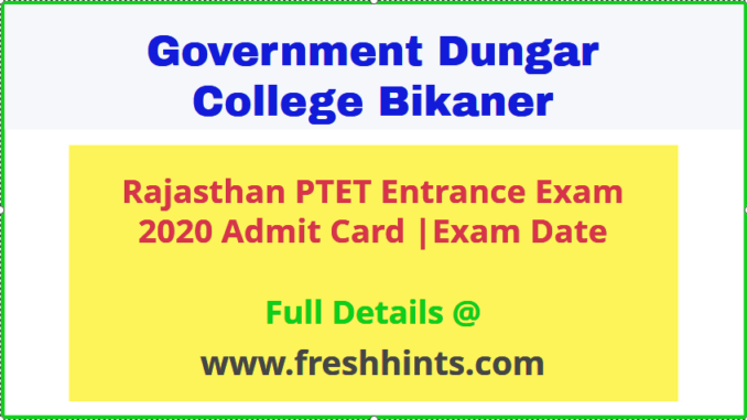 Rajasthan PTET Entrance Exam Admit Card 2020