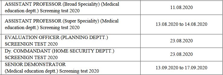 RPSC Exam Date List