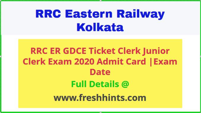 RRC ER GDCE Admit Card 2020