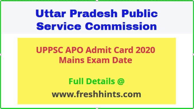 UPPSC APO Admit Card 2020