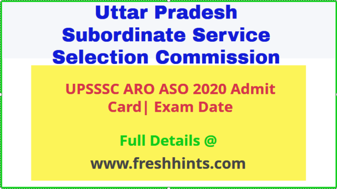 UPSSSC ARO Admit Card 2020