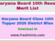 Haryana Board Class 10th Topper 2020 District Wise