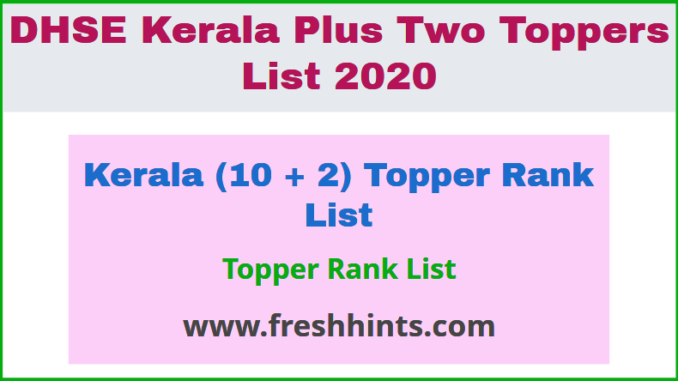 Kerala (10 + 2) Topper Rank List