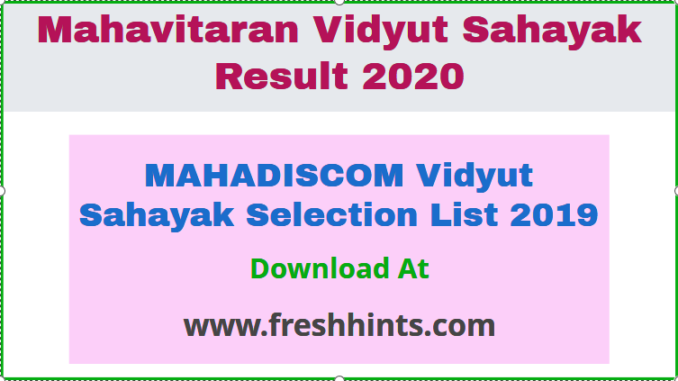MAHADISCOM Vidyut Sahayak Selection List 2019