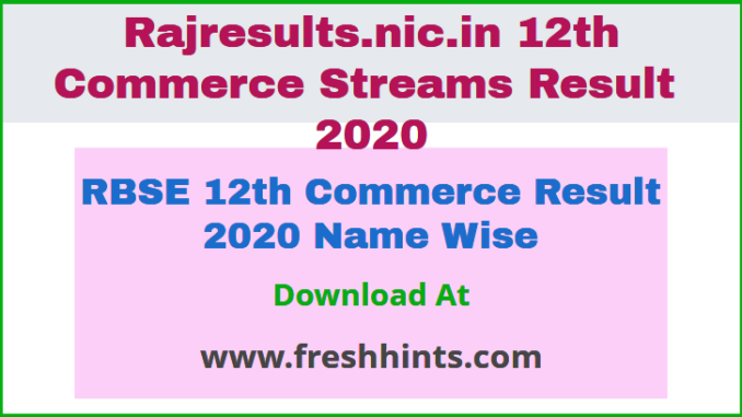 RBSE 12th Commerce Result 2020 Name Wise