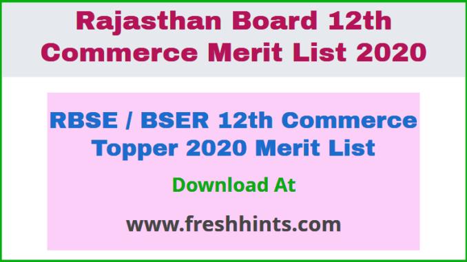 RBSE / BSER 12th Commerce Topper 2020 Merit List