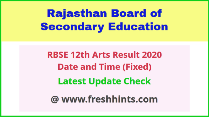 Rajasthan Board 12th Arts result date time 2020 name wise rbse |  FreshHints.Com