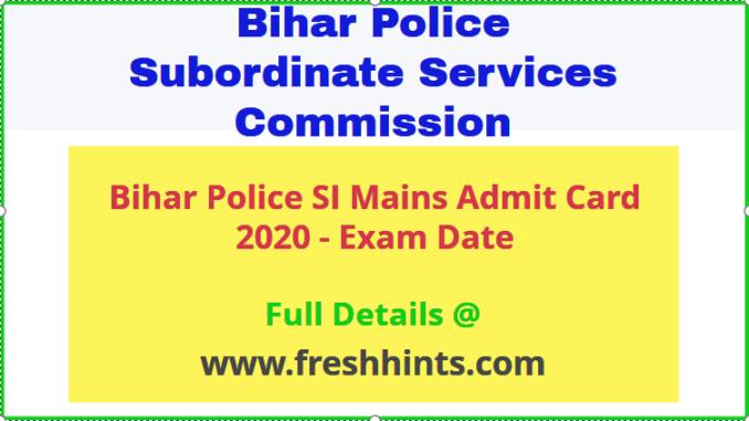 Bihar Police Sub Inspector Admit Card