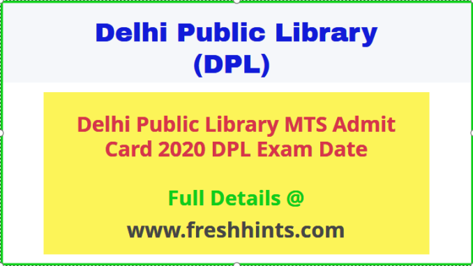 Delhi Public Library Admit Card