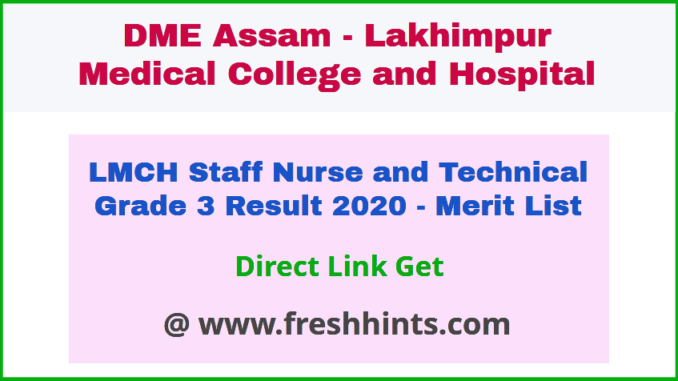 DME Assam Staff Nurse and Technical Grade 3 Result 2020