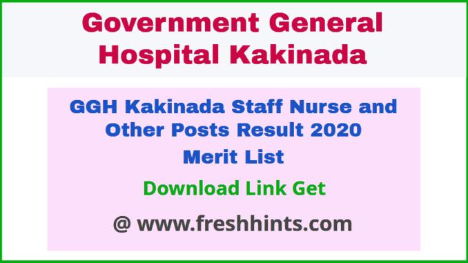 Government General Hospital Kakinada Recruitment Result 2020