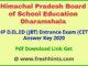 Himachal Pradesh Deled CET Answer Key 2020