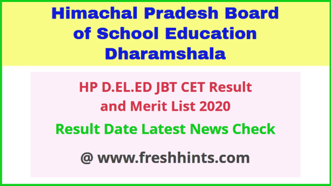 HPBOSE DELED CET Result 2020