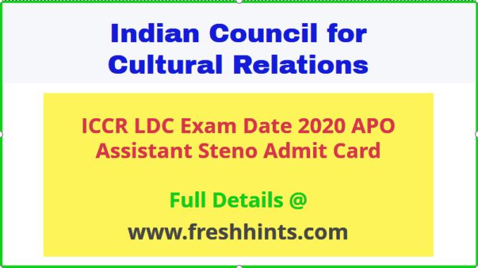 ICCR APO Admit Card