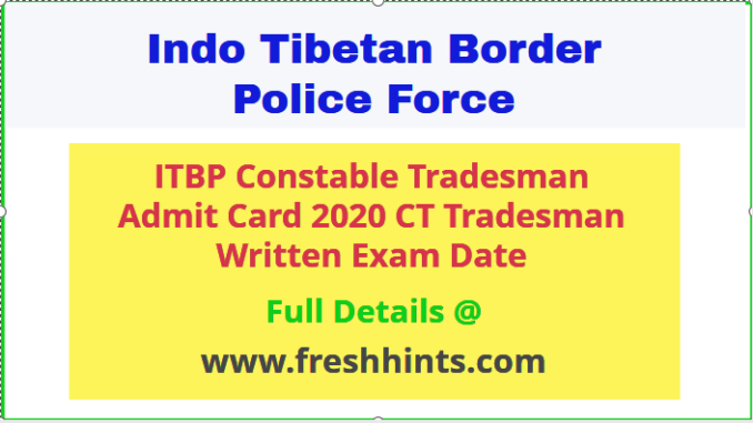 ITBP CT Tradesman Admit Card