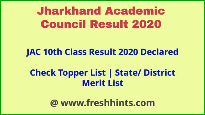 JAC Ranchi 10th Result 2020 Topper List