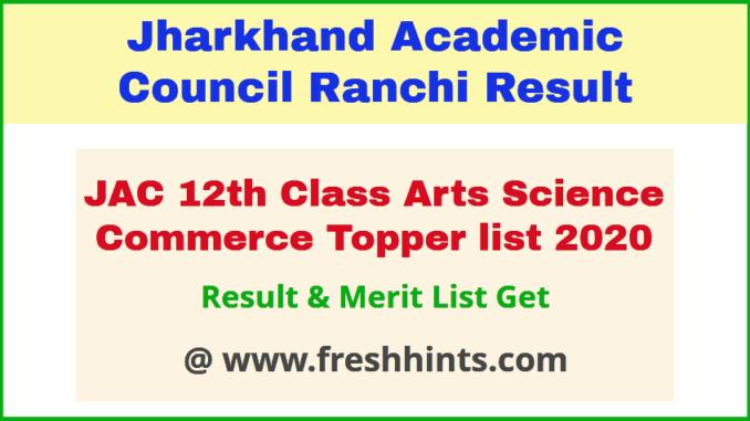 Jharkhand Board Intermediate Merit List 2020