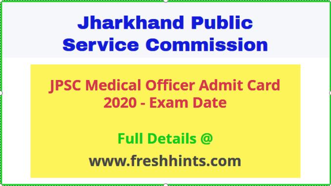 JPSC Medical Officer Admit Card