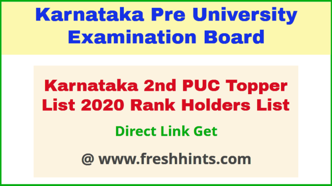 Karnataka PUC Rank Holders List 2020