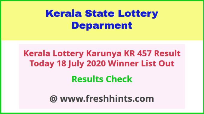 Karunya KR 457 Lottery Result 18 July 2020