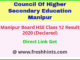 Manipur Board HSE Exam Result 2020