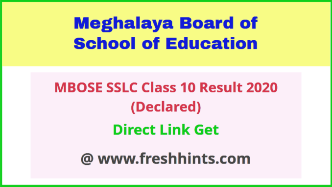 Meghalaya Board 10th Result 2020