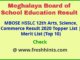 Meghalaya Board 12th Toppers Student List 2020