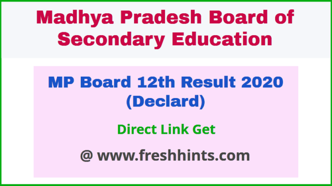 MPBSE Higher Secondary Class 12 Results 2020