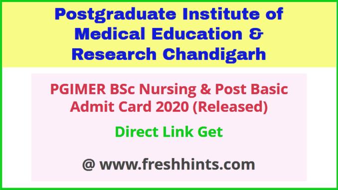 pgi-chandigarh-bsc-nursing-admit-card-2020
