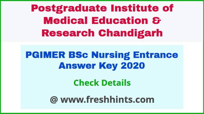 PGI Chandigarh BSc Nursing Question Paper Solution Key 2020
