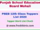 Punjab Board Class 12th Merit List 2020