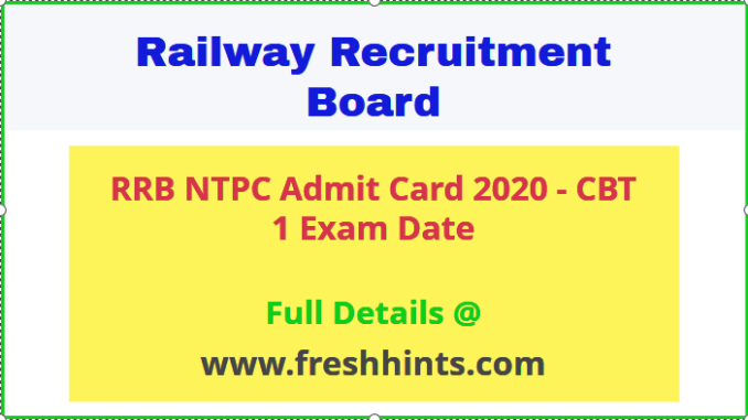 Railway NTPC Admit Card