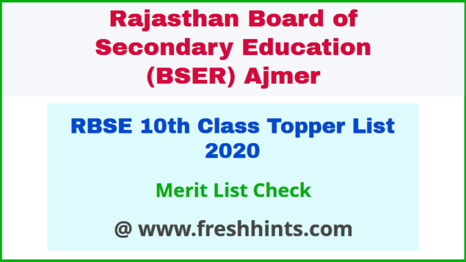 Rajasthan Board 10th Topper Merit List 2020