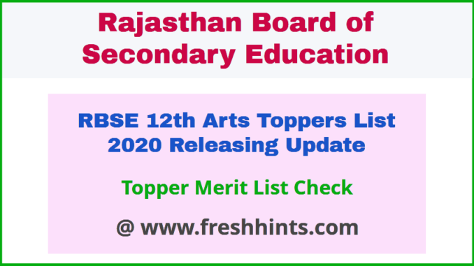 Rajasthan Board Class 12 Topper Merit List 2020