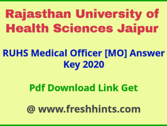 Rajasthan Medical Officer Answer Key 2020
