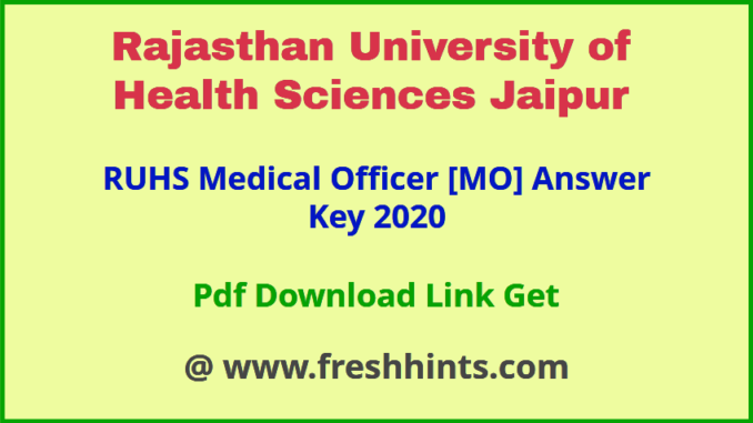 Rajasthan Medical Officer Answer Key 2020