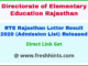 Rajasthan RTE Private School Free Admission List 2020