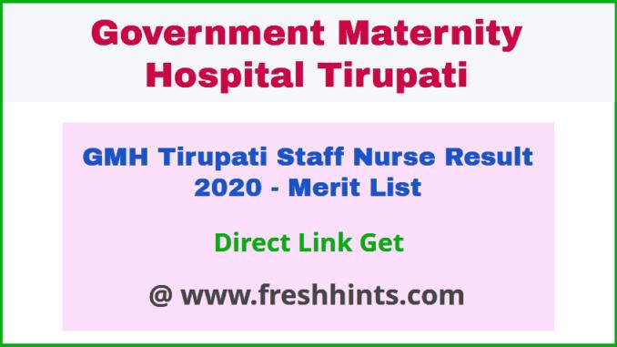 SV Medical College Tirupati Staff Nurse Result 2020