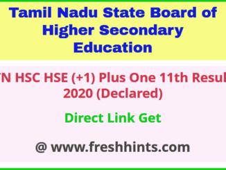 Tamil Nadu HSE +1 Results 2020