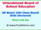 Uttarakhand Board High School Class 10 Result 2020