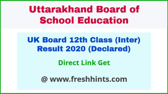 Uttarakhand Board Intermediate Class 12 Result 2020