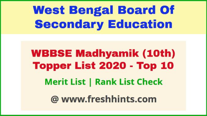 WB Board 10th Top 10 Rank List 2020