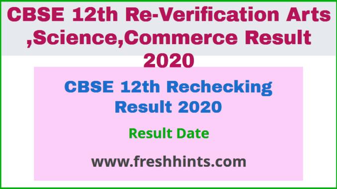 CBSE 12th Rechecking Result 2020