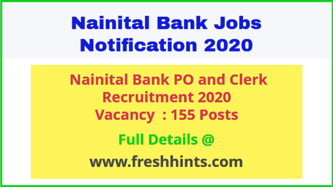Nainital Bank PO and Clerk Recruitment 2020