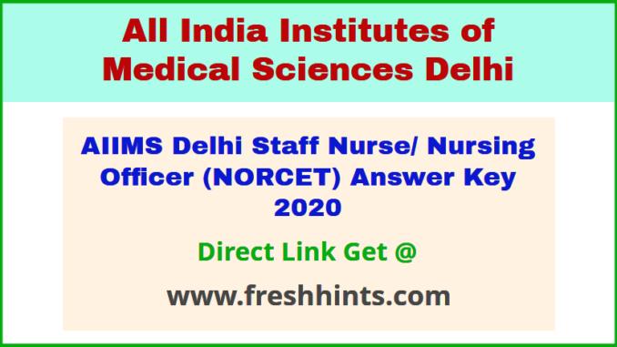 AIIMS Nursing Officer Answer Sheet 2020