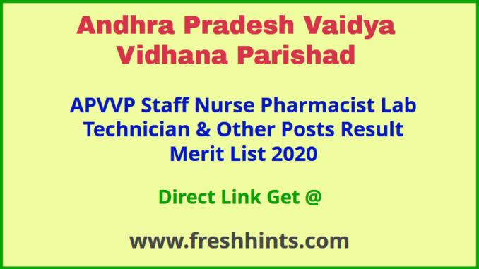 APVVP Paramedical Staff Results 2020