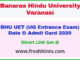 Banaras Hindu University UG Entrance Exam Admit Card 2020