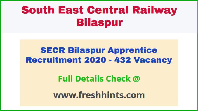 Bilaspur Railway Trade Apprentice Recruitment Notification 2020